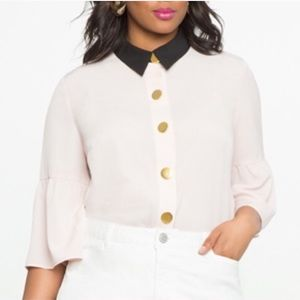 Eloquii Studio Bell Sleeve Button Up Blouse Blush